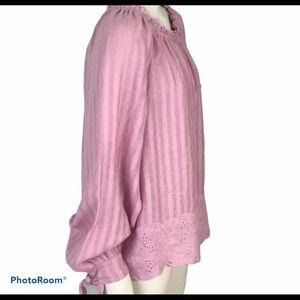 Joie Pink Tie Blouson Sleeve top Size L